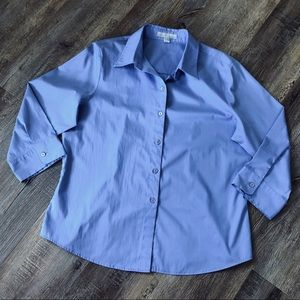 Foxcroft wrinkle free blue button shirt size 14